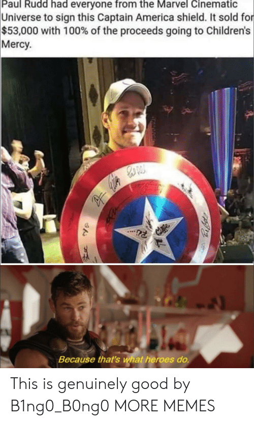 America, Dank, and Memes: Paul Rudd had everyone from the Marvel Cinematic  Universe to sign this Captain America shield. It sold for  $53,000 with 100% of the proceeds going to Children's  Mercy  Because that's wat heroes do. This is genuinely good by B1ng0_B0ng0 MORE MEMES