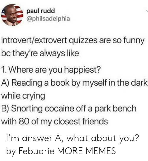 Crying, Dank, and Friends: paul rudd  @philsadelphia  introvert/extrovert quizzes are so funny  bc they're always like  1. Where are you happiest?  A) Reading a book by myself in the dark  while crying  B) Snorting cocaine off a park bench  with 80 of my closest friends I'm answer A, what about you? by Febuarie MORE MEMES