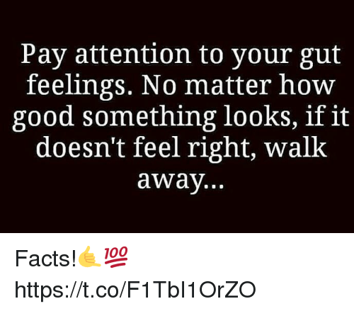 Facts, Good, and How: Pay attention to your gut  feelings. No matter hoW  good something looks, if it  doesn't feel right, walk  away... Facts!🤙💯 https://t.co/F1TbI1OrZO
