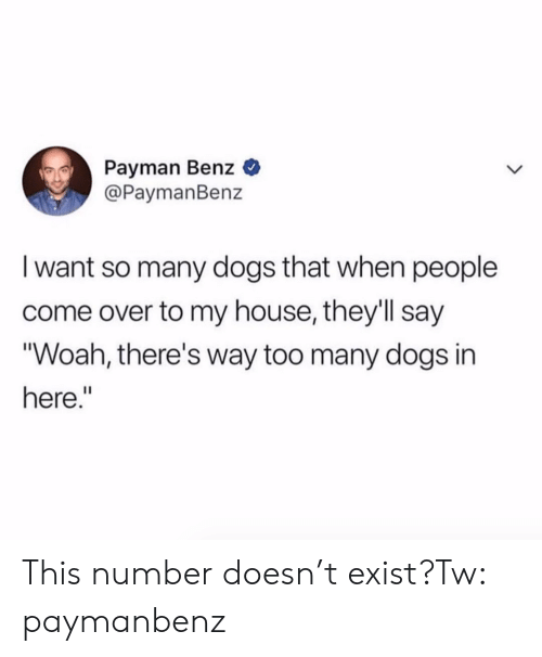 "Come Over, Dogs, and My House: Payman Benz  @PaymanBenz  I want so many dogs that when people  come over to my house, they'll say  ""Woah, there's way too many dogs in  here."" This number doesn't exist?Tw: paymanbenz"