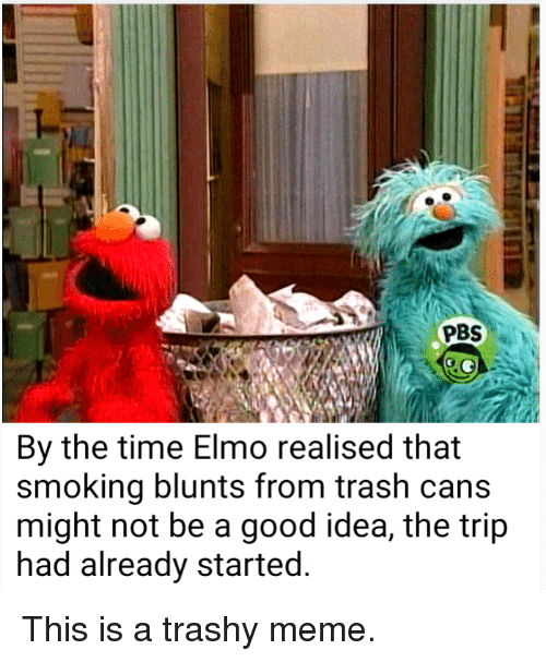 Pbs By The Time Elmo Realised That Smoking Blunts From Trash Cans