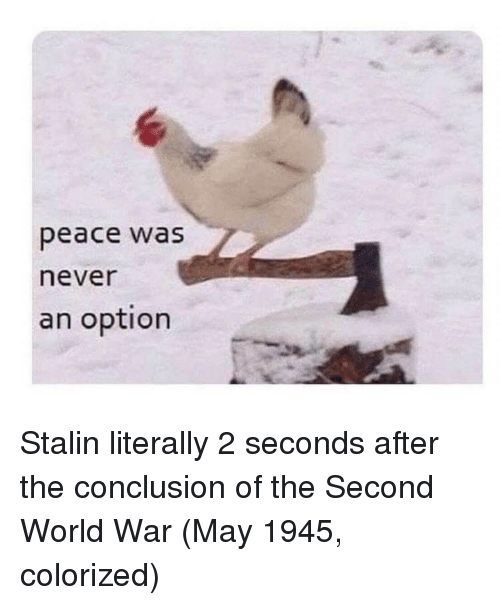 Peace Was Never An Option: peace was  never  an option Stalin literally 2 seconds after the conclusion of the Second World War (May 1945, colorized)