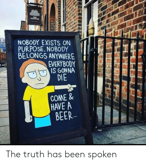 Beer, Truth, and Been: PEACOCI  NOBODY EXISTS ON  PURPOSE. NOBODY  BELONGS ANYWHERE  EVERYBODY  IS GONNA  DIE  COME&  HAVE A  BEER The truth has been spoken