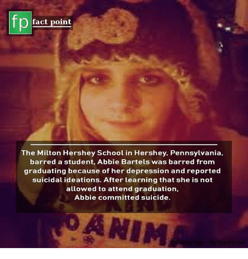 barred: pEact point  The Milton Hershey School in Hershey. Pennsylvania,  barred a student, Abbie Bartels was barred from  graduating because of her depression and reported  suicidal ideations. After learning that she is not  allowed to attend graduation,  Abbie committed suicide.  OANIM