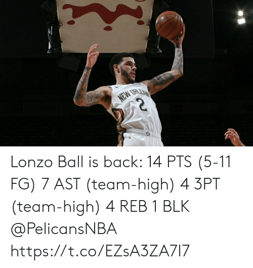 Memes, Back, and 🤖: PEAR CH  NEW  ORLEA Lonzo Ball is back:   14 PTS (5-11 FG) 7 AST (team-high) 4 3PT (team-high)  4 REB 1 BLK   @PelicansNBA   https://t.co/EZsA3ZA7I7