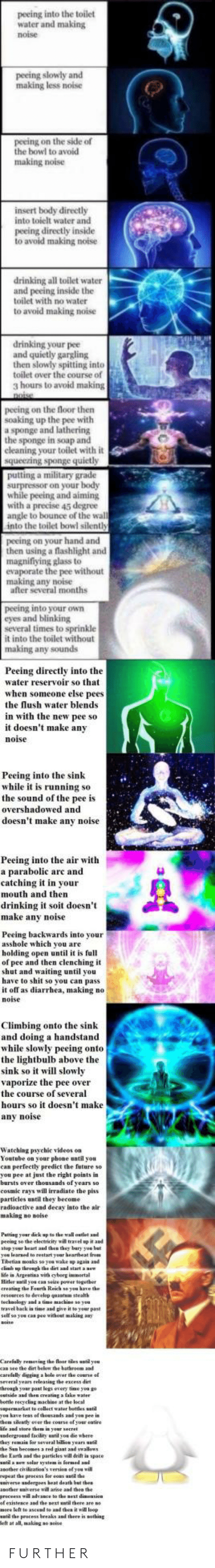 Military Grade: peeing into the toilet  water and making  noise  peeing slowly and  making less noise  peeing on the side of  the bowl to avoid  making noise  insert body directly  into toielt water and  peeing directly inside  to avoid making noise  drinking all toilet water  and peeing inside the  toilet with no water  to avoid making noise  drinking your pee  and quietly gargling  then slowly spitting into  toilet over the course of  3 hours to avoid making  peeing on the floor then  soaking up the pee with  a sponge and lathering  the sponge in soap and  cleaning your toilet with it  a military grade  while peeing and aiming  with a precise 45 degree  angle to bounce of the wal  into the toilet bowl silenth  peeing on your hand and  then using a flashlight and  magnifiying glass to  evaporate the pee without  making any noise  after several months  peeing into your oWn  eyes and blinking  several times to sprinkle  it into the toilet without  making any sounds  Peeing directly into the  water reservoir so that  when someone else pees  the lush water blends  in with the new pee so  it doesn't make any  noi  Peeing into the sink  while it is running so  the sound of the pee is  overshadowed and  doesn't make any noise  Peeing into the air with  a parabolic arc and  catching it in your  mouth and then  drinking t st doesn't  make anv noise  Peeing backwards into your  asshole which you are  holding open until it is full  of pee and then clenching it  shut and waiting until you  have to shit so you can pass  noise  Climbing onto the sink  and doing a handstand  while slowly peeing onto  the lightbulb above the  sink so it will slo  vaporize the pee over  the course of several  hours so it doesn't make  any noise  Watching psyehic videes on  Youtube on your phone until you  can perfectly predict the feture so  you pee at just the right points in  barsts over thousands of  cosmic rays will irradiate the piss  particles until they become  radioactive and decay isto the