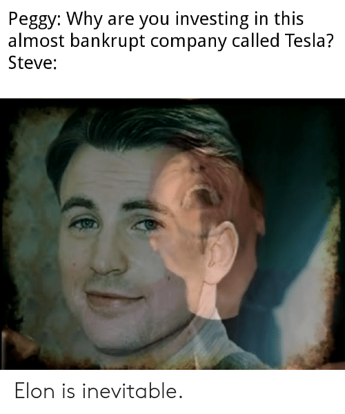 Tesla, Company, and Elon: Peggy: Why are you investing in this  almost bankrupt company called Tesla?  Steve: Elon is inevitable.
