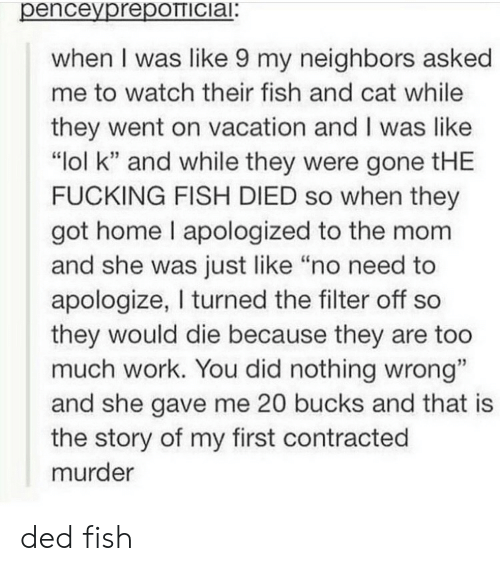 """Fucking, Lol, and Too Much: penceyprepOTTICiai:  when I was like 9 my neighbors asked  me to watch their fish and cat while  they went on vacation and I was like  """"lol k"""" and while they were gone tHE  FUCKING FISH DIED so when they  got home I apologized to the mom  and she was just like """"no need to  apologize, I turned the filter off so  they would die because they are too  much work. You did nothing wrong""""  and she gave me 20 bucks and that is  the story of my first contracted  murder ded fish"""