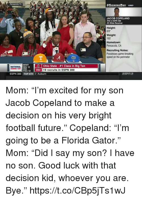 """perimeter: Pensacola, FL  #SIGNINGDAY LIVE,  JACOB COPELAND  #40 in ESPN 300  #5 Wide Receiver  Height:  6'0""""  Weight:  192  Hometown  Pensacola, CA  Recruiting Notes:  Possesses game-breaking  speed on the perimeter  ut  NEXT  RI 12 10 