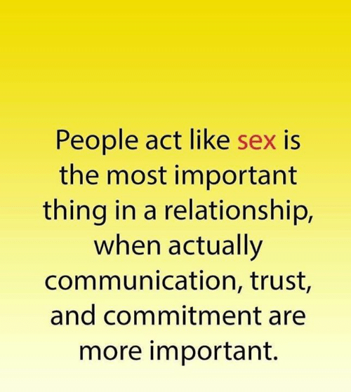 Important Thing: People act like sex is  the most important  thing in a relationship,  when actually  communication, trust,  and commitment are  more important.