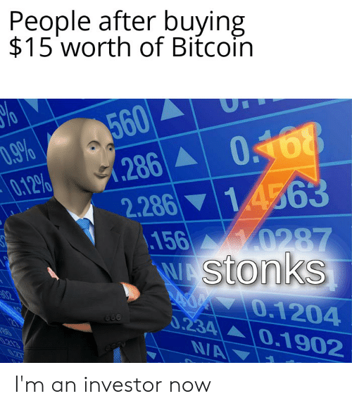Dank Memes, Bitcoin, and Now: People after buying  $15 worth of Bitcoin  UI  560  (286 0.468  2.286 14563  D.9%  0.12%  Y0287  156  WAStonks  02  0.1204  0.234 0.1902  21  NA  0.213  0.27 I'm an investor now