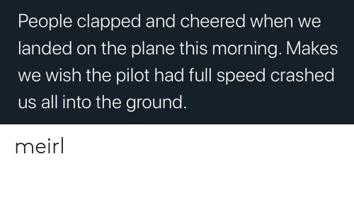 pilot: People clapped and cheered when  landed on the plane this morning. Makes  wish the pilot had full speed crashed  us all into the ground. meirl