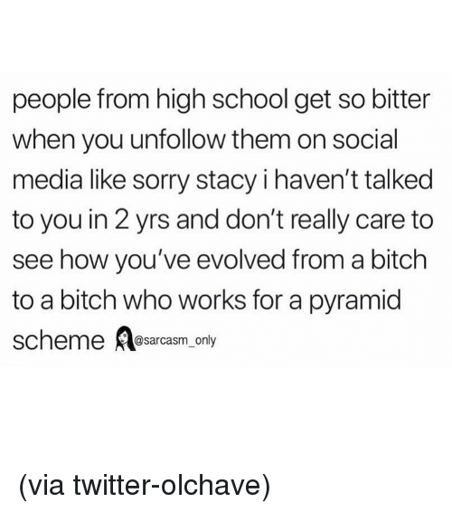 Bitch, Funny, and Memes: people from high school get so bitter  when you unfollow them on social  media like sorry stacy i haven't talked  to you in 2 yrs and don't really care to  see how you've evolved from a bitch  to a bitch who works for a pyramid  scheme Aesarcasm, only (via twitter-olchave)