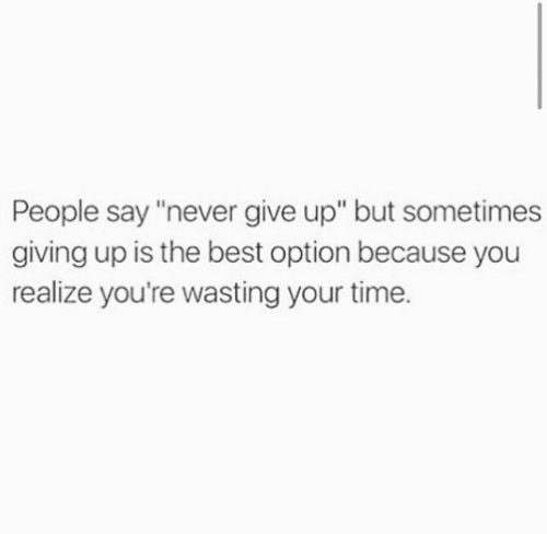 "Best, Time, and Never: People say ""never give up"" but sometimes  giving up is the best option because you  realize you're wasting your time."
