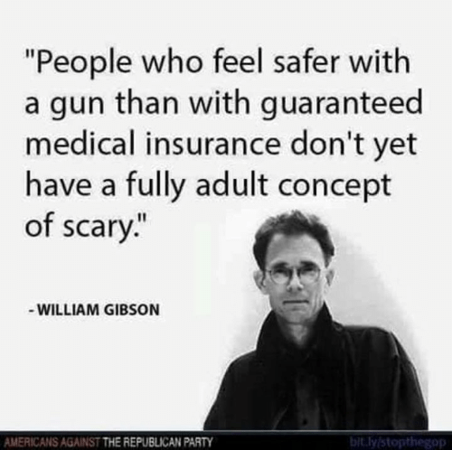 """Memes, Party, and Republican Party: """"People who feel safer with  a gun than with guaranteed  medical insurance don't yet  have a fully adult concept  of scary.""""  WILLIAM GIBSON  AMERICANS AGAINST THE REPUBLICAN PARTY  bit.ly stopthegop"""