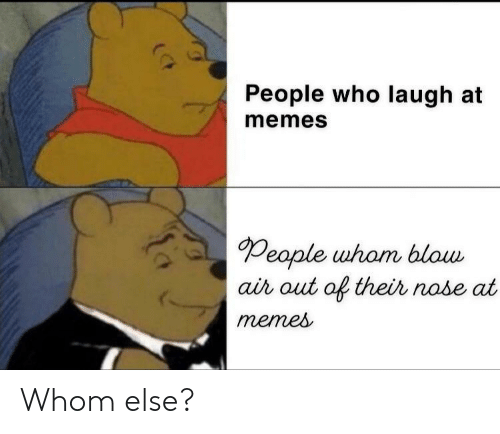 Memes, Blow, and Who: People who laugh at  memes  People uham blow  ai out of their nobe at  menes Whom else?