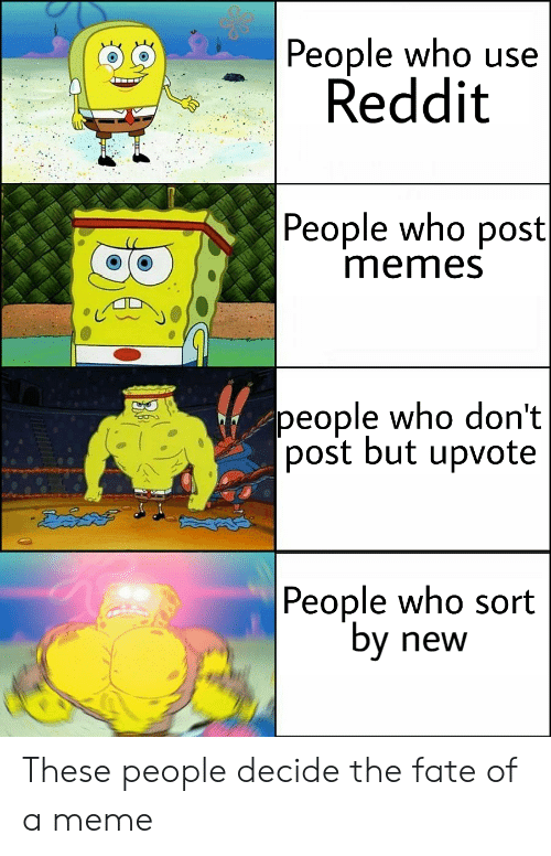 "Meme, Memes, and Reddit: People who use  Reddit  People who post  memes  people who don't  [post but upvote  |People who sort  ""by  new These people decide the fate of a meme"