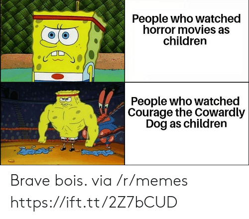 Courage: People who watched  horror movies as  children  People who watched  Courage the Cowardly  Dog as children  డదేపతో Brave bois. via /r/memes https://ift.tt/2Z7bCUD