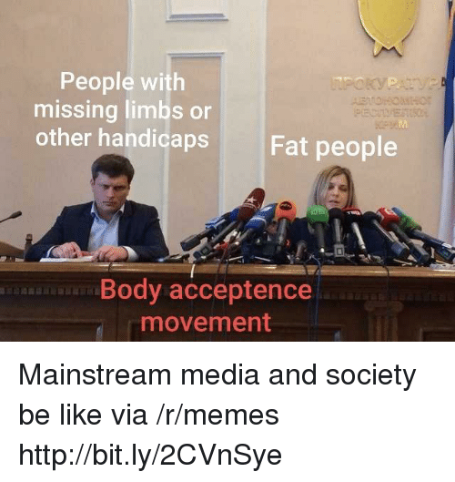 Mainstream Media: People with  missing limbs or  other handicaps  Fat people  Body acceptence  movement Mainstream media and society be like  via /r/memes http://bit.ly/2CVnSye