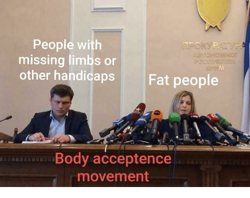 Fat, Fat People, and People: People with  missing limbs or  other handicaps  Fat people  Body acceptence  movement