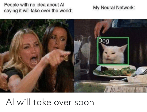 Neural: People with no idea about A  saying it will take over the world:  My Neural Network:  Dog AI will take over soon