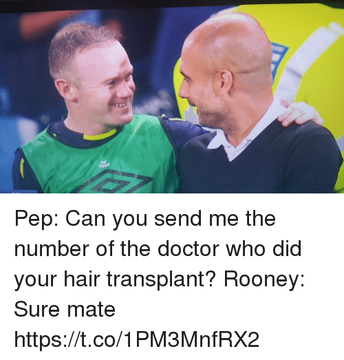 Doctor, Memes, and Doctor Who: Pep: Can you send me the number of the doctor who did your hair transplant?   Rooney: Sure mate https://t.co/1PM3MnfRX2