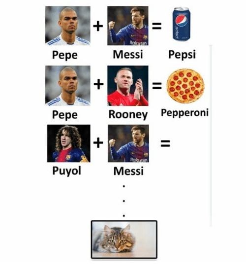 Messi, Pepe, and Indonesian (Language): Pepe  MessiPepsi  Pepe  Rooney Pepperoni  Puyol  Messi