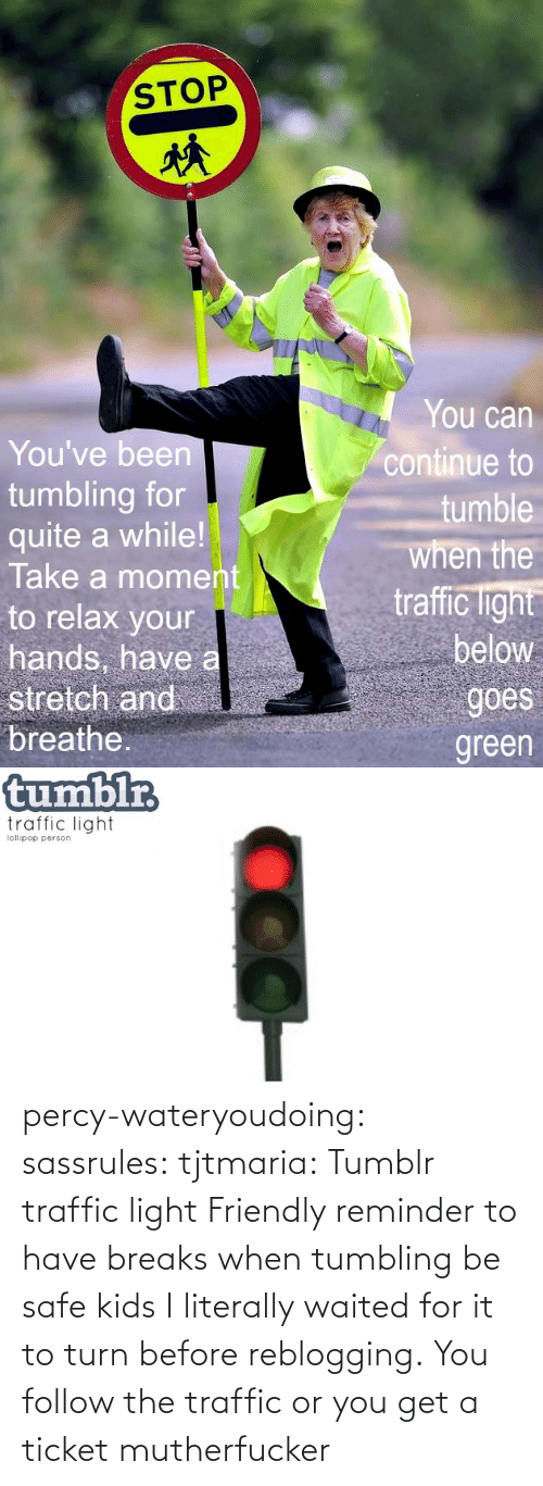 Safe Kids: percy-wateryoudoing:  sassrules:  tjtmaria:  Tumblr traffic light Friendly reminder to have breaks when tumbling be safe kids  I literally waited for it to turn before reblogging.  You follow the traffic or you get a ticket mutherfucker