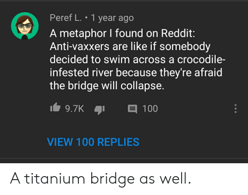 Reddit, Metaphor, and Anti: Peref L. 1 year ago  A metaphor I found on Reddit:  Anti-vaxxers are like if somebody  decided to swim across a crocodile-  infested river because they're afraid  the bridge will collapse.  9.7K  100  VIEW 100 REPLIES A titanium bridge as well.