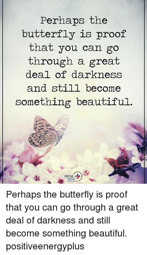 Perhapes: Perhaps the  butterfly is proof  that you can go  through a great  deal of darkness  and still become  something beautiful  POSITIVE Perhaps the butterfly is proof that you can go through a great deal of darkness and still become something beautiful. positiveenergyplus