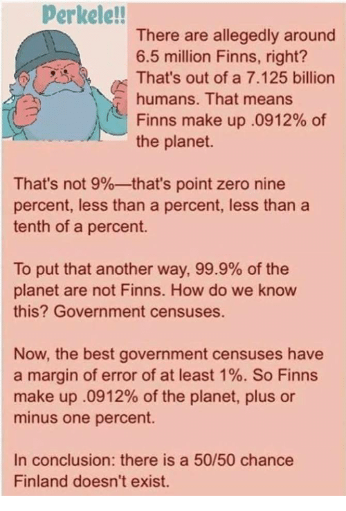 Nine Percent: Perkele!!  There are allegedly around  6.5 million Finns, right?  That's out of a 7.125 billion  humans. That means  Finns make up .0912% of  the planet.  That's not 9%--that's point zero nine  percent, less than a percent, less than a  tenth of a percent.  To put that another way, 99.9% of the  planet are not Finns. How do we know  this? Government censuses.  Now, the best government censuses have  a margin of error of at least 1%. So Finns  make up .0912% of the planet, plus or  minus one percent.  In conclusion: there is a 50/50 chance  Finland doesn't exist.