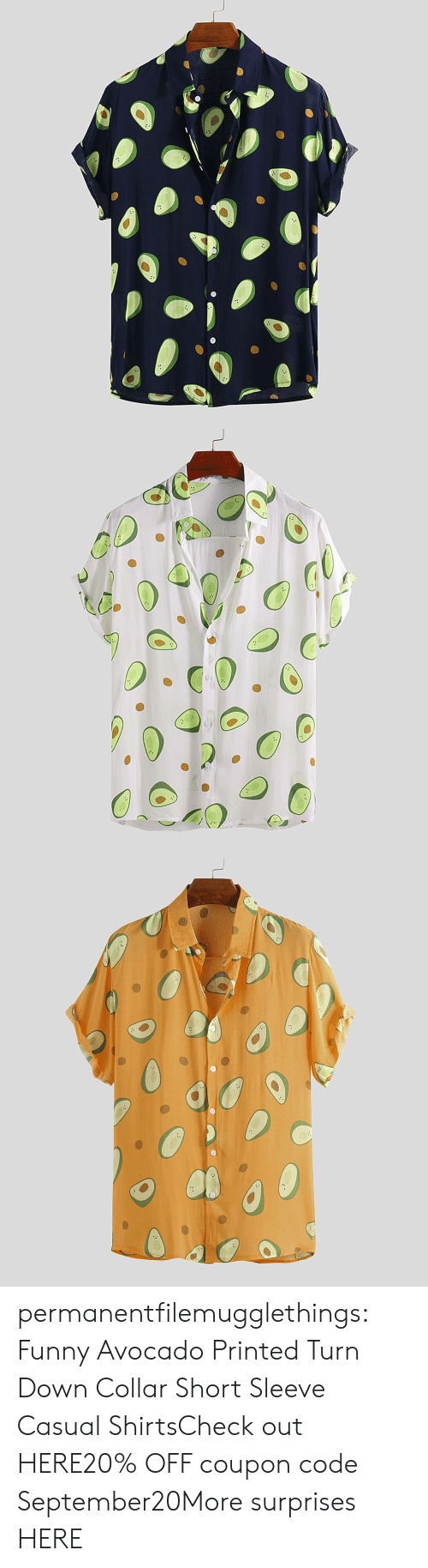 Avocado: permanentfilemugglethings:  Funny Avocado Printed Turn Down Collar Short Sleeve Casual ShirtsCheck out HERE20% OFF coupon code:September20More surprises HERE