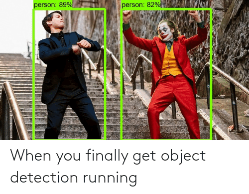 Running: person: 89%  person: 82% When you finally get object detection running