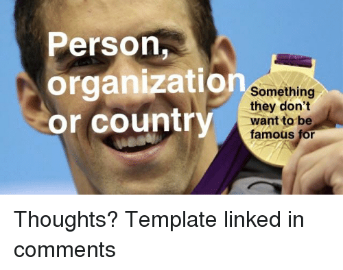 Linked In, Template, and They: Person,  organization  or country  Something  they don't  want to be  famous for