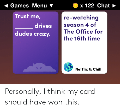 The Office: Personally, I think my card should have won this.