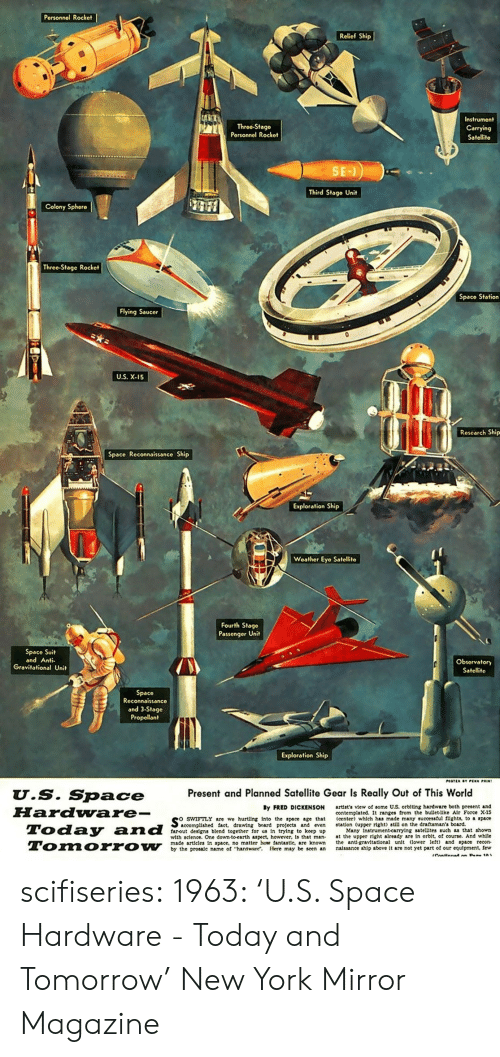 New York, Tumblr, and Blog: Personnol Rocket  Relief Ship  Throe-Stago  Porsonnel Rockot  Instrument  Carrying  Satellite  Third Stage Unit  Colony Sphero  Threo-Stage Rocket  Spaco Station  Flying Saucer  U.S. X-15  Research Ship  Space Reconnaissance Ship  Exploration Ship  Weather Eyo Satellito  Fourth Stage  Passenger Uni  Space Suit  and Anti  Obsorvatory  Satelit  Space  Reconnaissanco  and 3-Stage  Propellant  Exploration Ship  Present and Planned Satellite Gear Is Really Out of This World  U.S. Space  FHardware-  By FRED DICKENSON  swiFTLY are we hurting into the space age that  farout designs blend together for us In trying to keep up  artist's view of some US. orblting hardware both present and  contemplated. It ranges from the bullet-llke Alr Force X-15  (center) which has made many successful fights, to space  accomplished fact, drawing board projeets and even station (upper right) still on the draftsman's board.  Many Instrument-carrylng satellites such as that shown  with sclence. One down to earth aspeet, however, is that man at the upper right already are in orblt, of course. And whlle  made articles In space, no matter how fantastle, are known he ant gravitational unlt lower let) and space recon  by the prosale name of hardware. Here may be seen an nalssance ship above It are not yet part of our equipment, few scifiseries:  1963: 'U.S. Space Hardware - Today and Tomorrow' New York Mirror Magazine