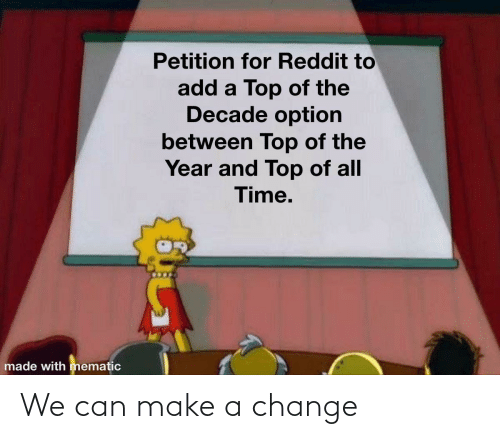 All Time: Petition for Reddit to  add a Top of the  Decade option  between Top of the  Year and Top of all  Time.  made with mematic We can make a change