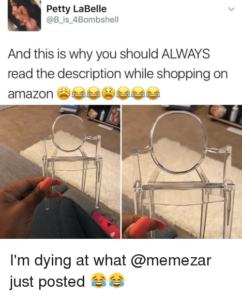 Amazon, Memes, and Petty: Petty LaBelle  @B_is_4Bombshell  And this is why you should ALWAYS  read the description while shopping on  amazon 부부 )부부 I'm dying at what @memezar just posted 😂😂