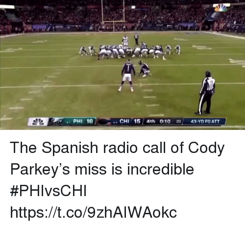Radio, Spanish, and Sports: PHI 16  CHI 15 4th 0:10 20 43-YD FG ATT The Spanish radio call of Cody Parkey's miss is incredible #PHIvsCHI  https://t.co/9zhAIWAokc