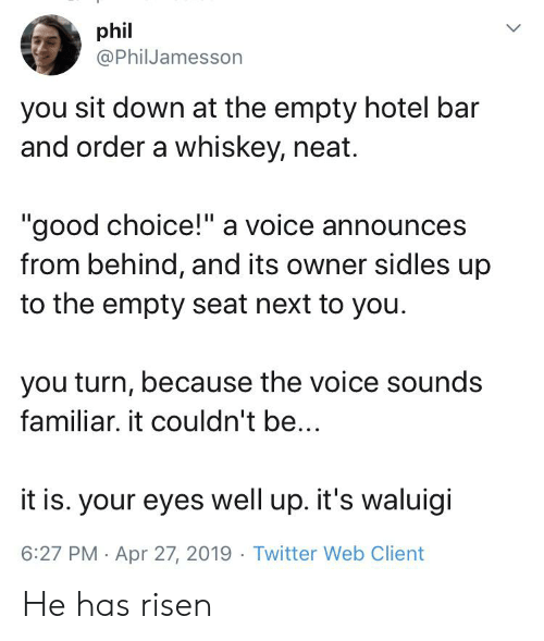 """The Voice, Twitter, and Good: phil  @PhilJamesson  you sit down at the empty hotel bar  and order a whiskey, neat.  """"good choice!"""" a voice announces  from behind, and its owner sidles up  to the empty seat next to you  you turn, because the voice sounds  familiar. it couldn't be..  it is. your eyes well up. it's waluigi  6:27 PM Apr 27, 2019 Twitter Web Client He has risen"""