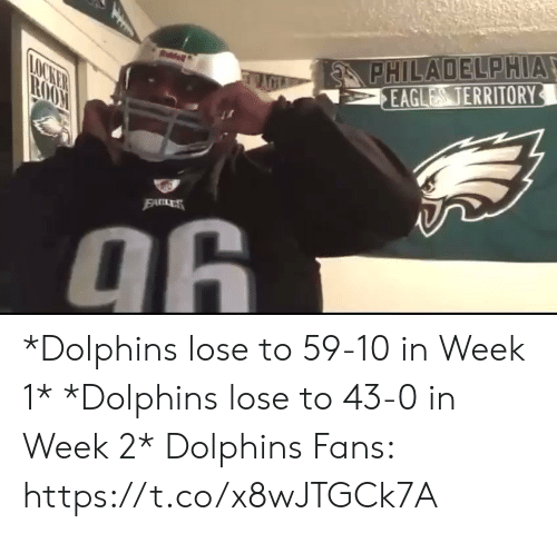 Philadelphia Eagles, Football, and Nfl: PHILADELPHIA  EAGLES TERRITORY  LOCKER  TROO  EALES  96  PHM *Dolphins lose to 59-10 in Week 1*  *Dolphins lose to 43-0 in Week 2*   Dolphins Fans: https://t.co/x8wJTGCk7A