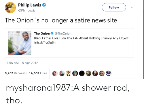 satire: Philip Lewis  @Phil_ Lewis  Follow  The Onion is no longer a satire news site.  The On.on @TheOnion  Black Father Gives Son The Talk About Holding Literally Any Object  trib.al/TruDq5m  11:56 AM - 5 Apr 2018  5,267 Retweets 14,667 Likes e b②O..O mysharona1987:A shower rod, tho.