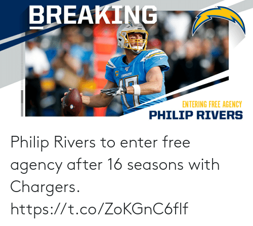 Seasons: Philip Rivers to enter free agency after 16 seasons with Chargers. https://t.co/ZoKGnC6flf