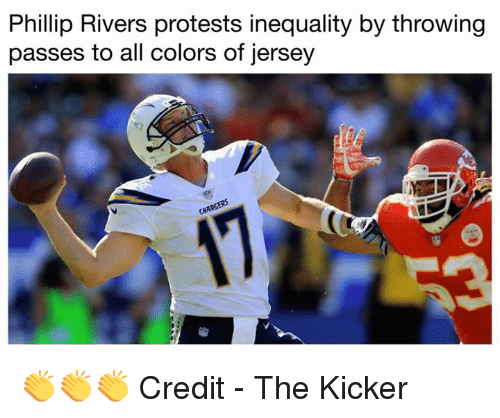 phillip rivers: Phillip Rivers protests inequality by throwing  passes to all colors of jersey 👏👏👏   Credit - The Kicker