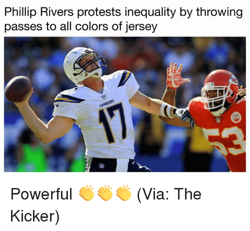 phillip rivers: Phillip Rivers protests inequality by throwing  passes to all colors of jersey Powerful 👏👏👏 (Via: The Kicker)