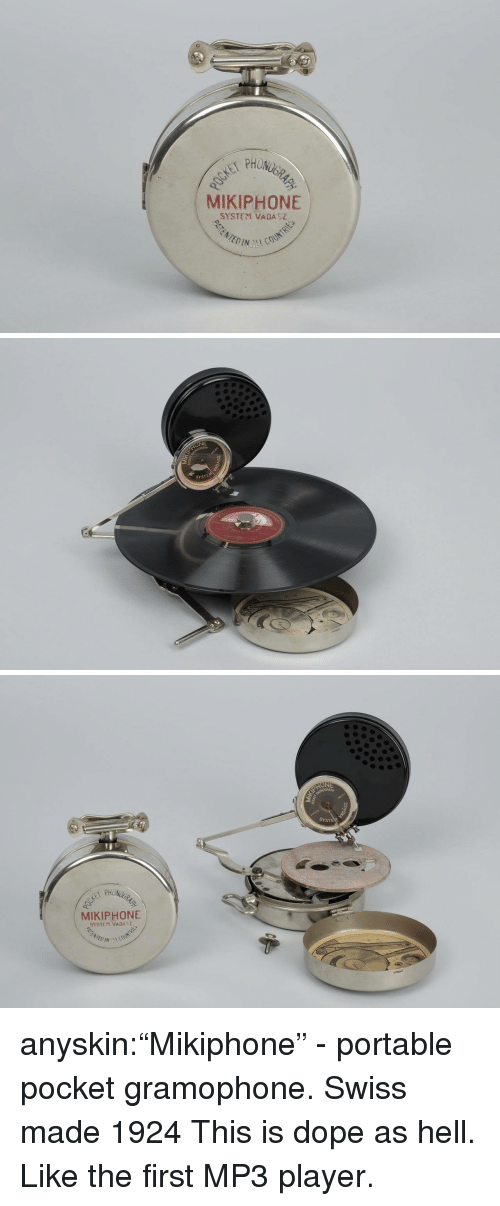"""Dope, Tumblr, and Blog: PHON  MIKIPHONE  SYSTEM VADASZ   NE  SYSTEM   SYSTE  MIKIPHONE  SYSTEM VADA anyskin:""""Mikiphone"""" - portable pocket gramophone. Swiss made 1924  This is dope as hell. Like the first MP3 player."""