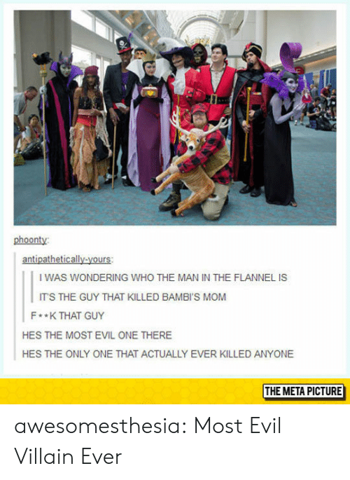 Tumblr, Blog, and Evil: phoonty:  antipathetically-yours:  I WAS WONDERING WHO THE MAN IN THE FLANNEL IS  ITS THE GUY THAT KILLED BAMBI'S MOM  F**K THAT GUY  HES THE MOST EVIL ONE THERE  HES THE ONLY ONE THAT ACTUALLY EVER KILLED ANYONE  THE META PICTURE awesomesthesia:  Most Evil Villain Ever