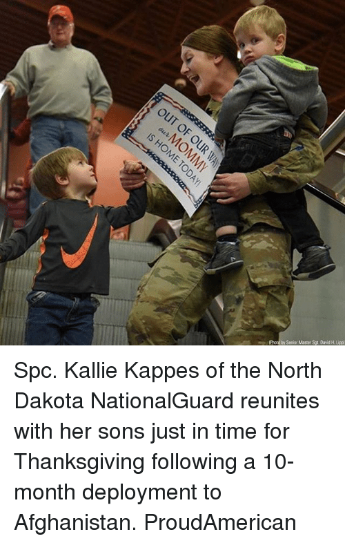 spc: (Photo by Senior Master Sgt. David H. Uipp) Spc. Kallie Kappes of the North Dakota NationalGuard reunites with her sons just in time for Thanksgiving following a 10-month deployment to Afghanistan. ProudAmerican
