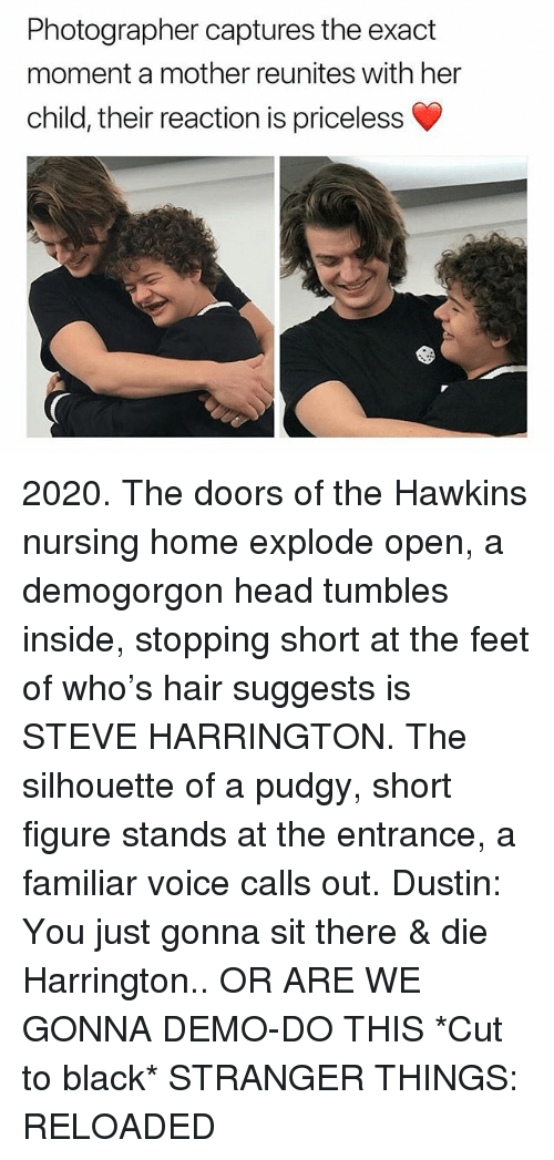 Silhouette: Photographer captures the exact  moment a mother reunites with her  child, their reaction is priceless 2020. The doors of the Hawkins nursing home explode open, a demogorgon head tumbles inside, stopping short at the feet of who's hair suggests is STEVE HARRINGTON. The silhouette of a pudgy, short figure stands at the entrance, a familiar voice calls out. Dustin: You just gonna sit there & die Harrington.. OR ARE WE GONNA DEMO-DO THIS *Cut to black* STRANGER THINGS: RELOADED