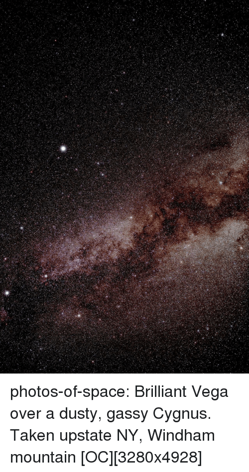 Taken, Tumblr, and Blog: photos-of-space:  Brilliant Vega over a dusty, gassy Cygnus. Taken upstate NY, Windham mountain [OC][3280x4928]